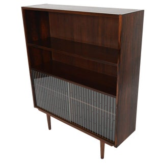 Narrow Rosewood Sliding Glass Door Bookcase
