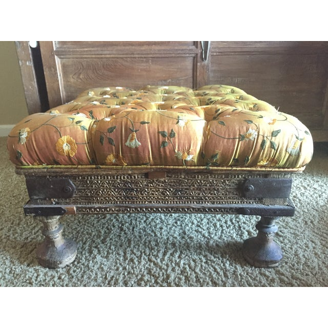 Orange Embroidered Handcarved Ottoman Stool - Image 3 of 11