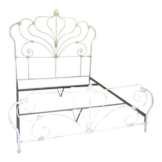 White Shabby Chic California King Iron Bed