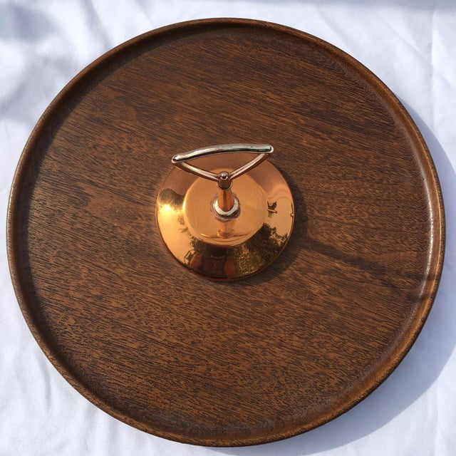 Midcentury Modern Copper and Teak Wood Lazy Susan - Image 6 of 9