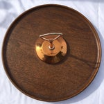 Image of Midcentury Modern Copper and Teak Wood Lazy Susan