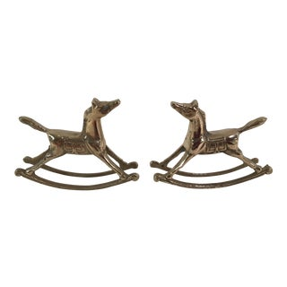 Vintage Brass Rocking Horses - A Pair