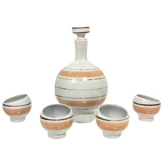 Orange Stripe Ceramic Decanter & Asymmetrical Cups