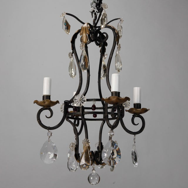 French 4-Light Black Iron & Crystal Chandelier - Image 2 of 4