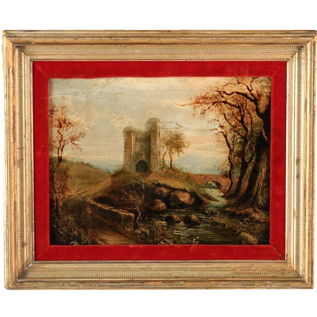 18th-C. Castle Ruins Oil Painting - Image 1 of 9