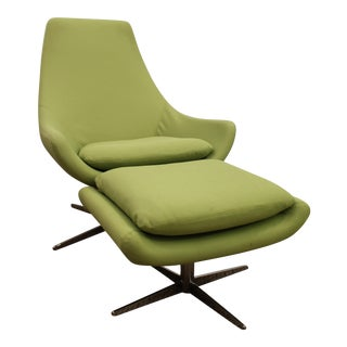 Mid-Century Danish Modern Lime Green Swivel Lounge Chair & Ottoman