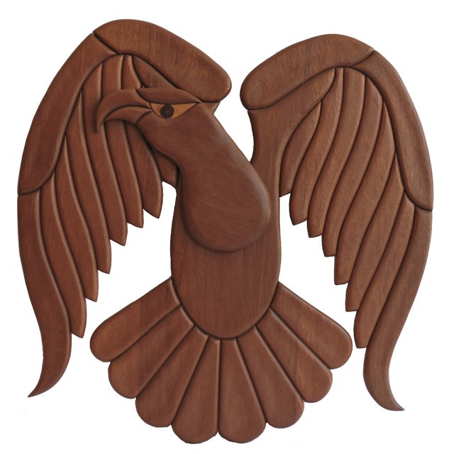 Wall Mounted Wooden Eagle - Image 1 of 3