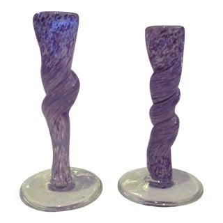 Murano Seguso Purple Glass Candleholders - A Pair