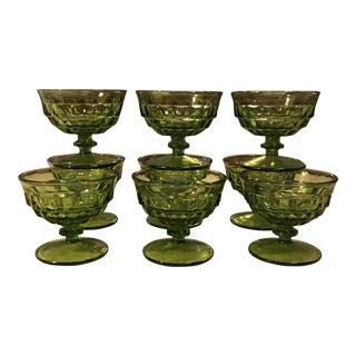 Mid-Century Green Faceted Footed Glasses - Set of 9