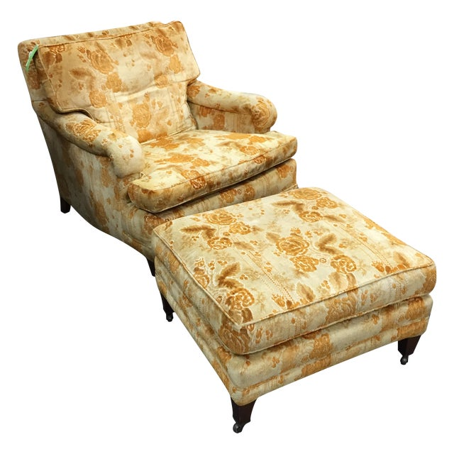 Mid-Century Golden Floral Chair & Ottoman - Image 1 of 4