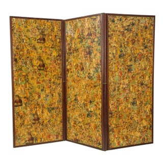 3-Paneled Victorian Decoupaged Room Divider Screen
