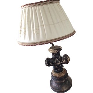 Antique Wood Fragment Lamp with Custom Shade