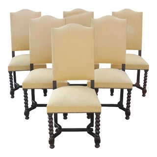 Louis XIII Style Barley Twist Solid Walnut Dining Chairs Circa 1880s - Set of 6