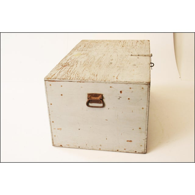 Vintage Industrial Wood Gray Military Storage Chest - Image 5 of 11