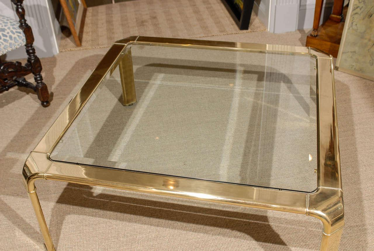Stunning Widdicomb Brass Coffee Table With Waterfall Corners   Pair  Available   Image 3 Of 11