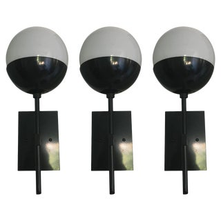 Black Enamel Sconces - Set of 3