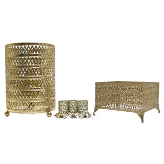 Vintage Gold Filigree Vanity Set - 3 Pieces