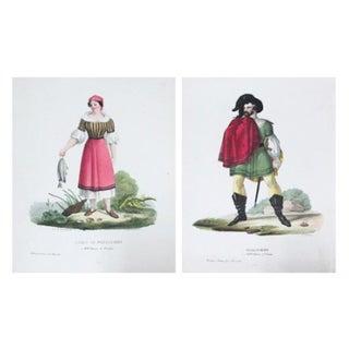 Italian 1799 Woman & Knight Prints - A Pair