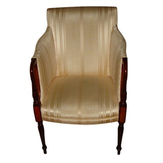 Upholstered Sheraton Armchair Pencil Mahogany