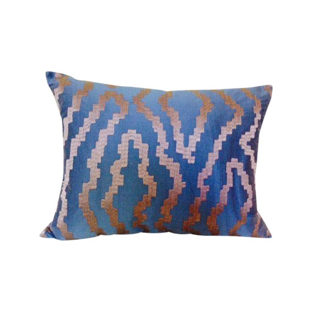 Blue Silk Abstract Pillow - Image 1 of 4