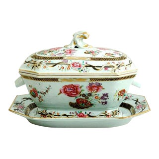 Chinese Export Porcelain Famille Rose Soup Tureen Set