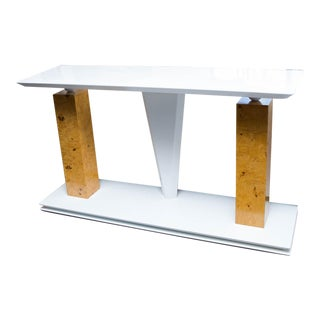 Modern Burled Wood and Lacquered Console Table