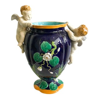 Minton Majolica Vase With Putti