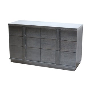 Spectacular Grey Cerused Oak Six Drawer Dresser