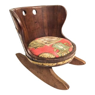 Vintage Barrel Rocking Chair With Nautical Seat