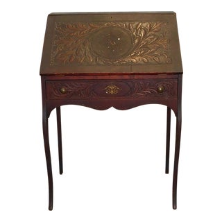 1890s Petite Antique Carved Foliage Oak Slant Top Writing Desk