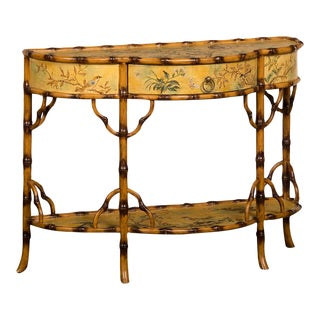 Vintage Painted Bamboo Console Table, China c.1970