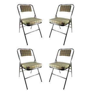 Samsonite Houndstooth Folding Chairs - Set of 4