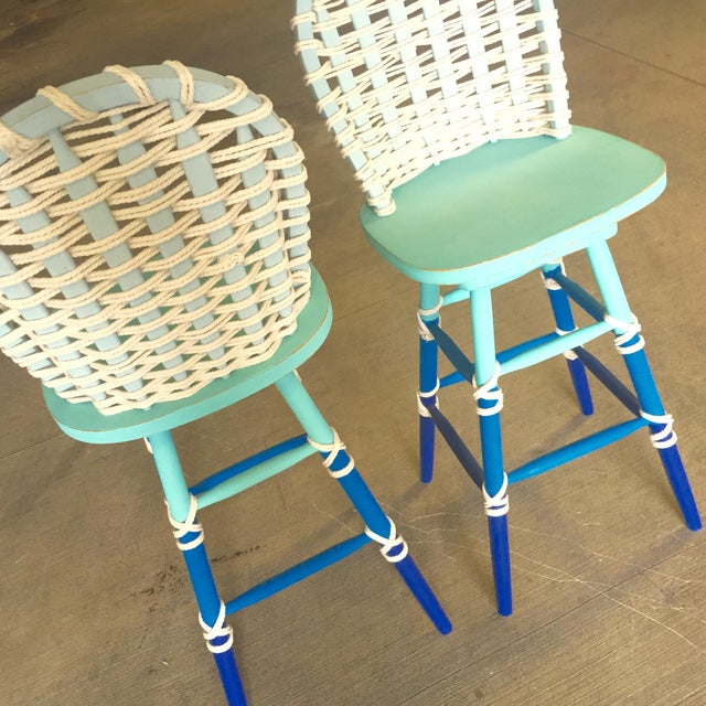 Nautical Wooden Bar Stools - A Pair - Image 5 of 8