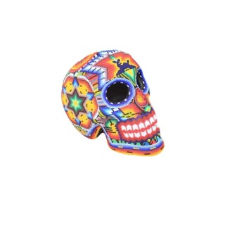 Multi Colored Huichol Beaded Skull