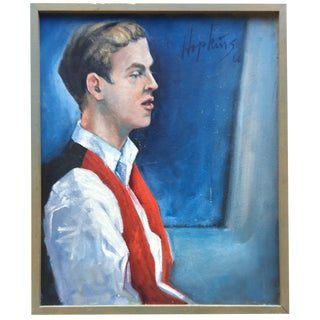 Portrait of Man with Blue Eyes in Red Vest