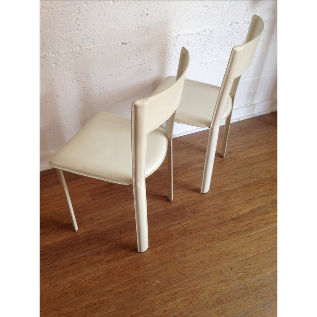 DWR White Leather Chairs - A Pair - Image 5 of 7