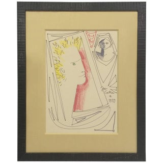 1959 Original Drawing by Jean Cocteau, Signed