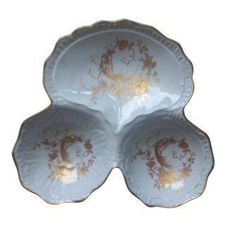 Limoges White & Gold Gilt 3-Section Serving Piece