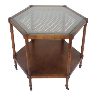Mid-Century Modern 6 Sided Faux Bamboo Occasional Table