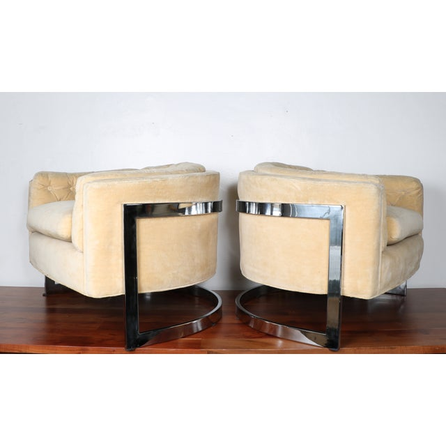 Image of Milo Baughman Style Club Chairs - A Pair
