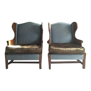 Stickley Club Wing Back Chairs - Pair