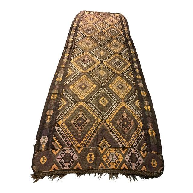 Vintage Anatolian Kars Kilim Rug - 4′8″ × 14′8″ - Image 1 of 8