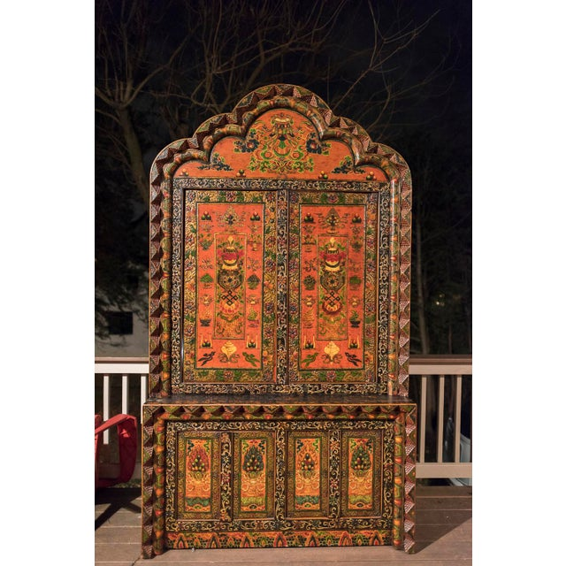 Tibetan Hand Carved & Painted Wooden Armoire - Image 2 of 4