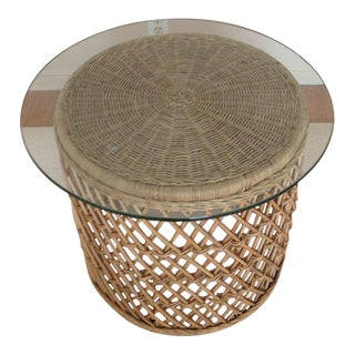 Contemporary Wicker & Glass Top End Table