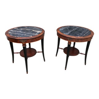 Mahogany & Marble Gueridon Tables - A Pair