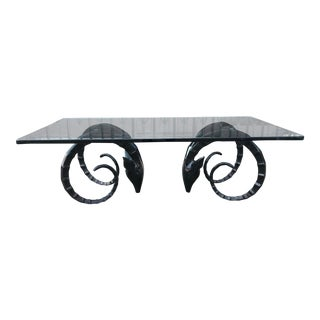 Ibex Ram Head Table In Glass And Black Lacquer