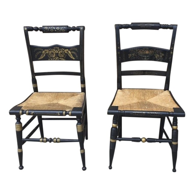 Image of Hitchcock Style Painted Stenciled Rush Chairs - 2