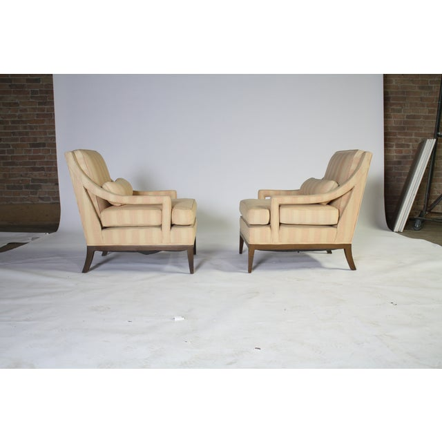 Upholstered Open-Arm Lounge Chairs - A Pair - Image 3 of 3