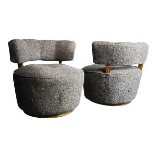 Milo Baughman Tweed Tub Chairs - Pair