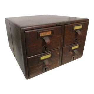 Antique Tiger Oak Library Card Catalog